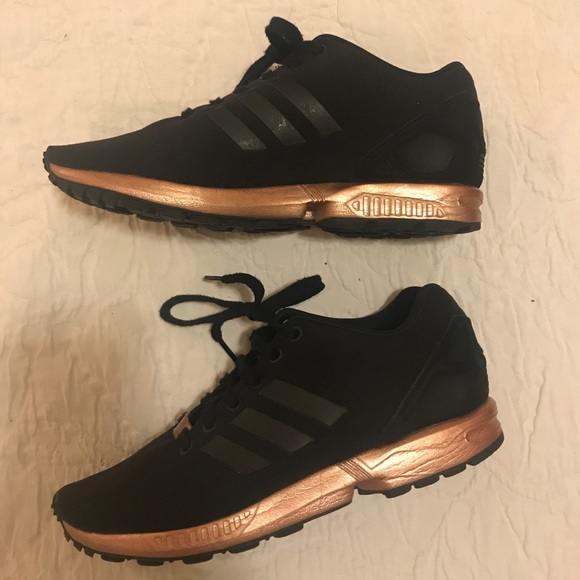 the best attitude dbd64 9d401 Adidas Zx Flux Black and Copper/ Rose Gold